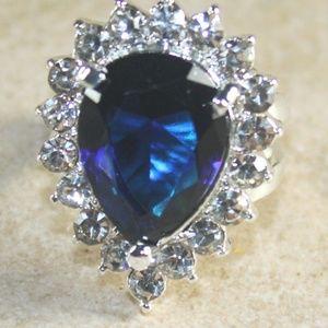 Jewelry - SILVER Ocean Blue Topaz & Crystal Teardrop Ring